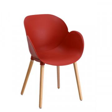 Taxta ayaqlı qırmızı oturacaq