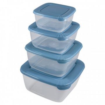 Dördlü mavi saxlama qabları dəsti (0.46 lt, 0.95 lt, 1.5 lt, 2.5 lt)